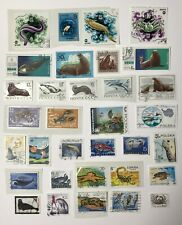 33 Postage Stamps. MARINE + COASTAL ANIMALS. From Europe + Russia (CCCP) Used
