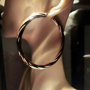 9ct Gold Italian large hoops  Barley Twist design Weight 6.4 grams Sale £249.00