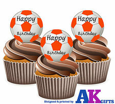 12 Orange Footballs Happy Birthday Edible Wafer Cake Toppers Large 5cm Stand Ups