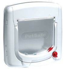 Cat Flap Manual 4-Way Locking White Transparent Flap with Magnetic Seal Door