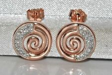 9ct Rose Gold on Silver 0.15ct Ladies Swirl Stud Earrings -