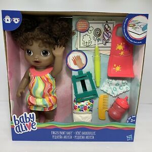 NIB Baby Alive Finger Paint Baby Doll Set AA African American Art Kids Girl Toy