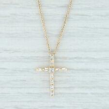 "0.30ctw Diamond Cross Pendant 14k Yellow Gold 16"" Wheat Chain Religious Jewelry"
