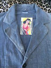 French 1930s Men Workwear Coat~Sanforized Gray Cotton Denim~Made In France~L/Xl