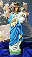 Antique Virgin Mary Infant Jesus Chalkware Religious Statue MTA