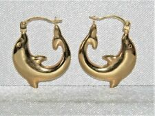 9ct Gold Dolphin Creole Hoop Earrings