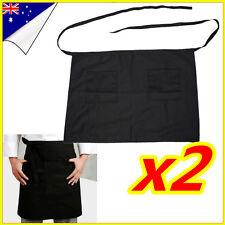 Black Half Short Waist Apron with Front Pocket Chef Kitchen Waiter Craft Bar x2