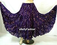 PURPLE Skirt 16 Yard 3 Tier Cotton Tribal Gypsy Belly Dance Tie & Dye Polka dot