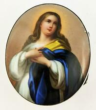 VICTORIAN VIRGIN MARY HAND PAINTED PORCELAIN PLAQUE BOX 19TH CENTURY