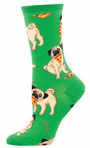 NEW Womens Ladies Fun Novelty Socks Pug Dogs on Green - Sock Size 9-11