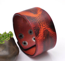 2-Tone Distressed Mens Genuine Leather Wrap Bracelet Wide Cuff Wristband Brown