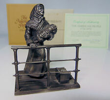 Vtg Pewter Immigrant Mother Child Ship Deck Figure Franklin Mint American People