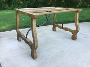 Arhaus wood and cast iron table base