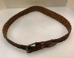 """Echo Women M Italian Leather Belt Woven Braided Brown Red Green 35"""" L 1.25"""" W"""