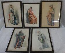 Five Italian 1879 finely painted framed watercolors, woman/men in period dress.