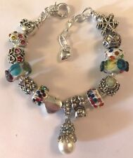 ❤️European CHARM BEADS BRACELET ~ MUTI-COLOR Beads ~ w/ Silver Plated Chain #1❤️