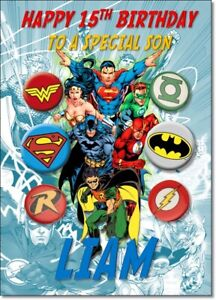 Personalised Justice League  Birthday Card with Licensed Badge Pack Gift Flash