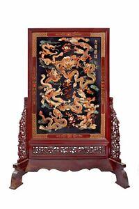 ORIENTAL NINE DRAGON ROSEWOOD (红酸枝) JADE PANEL WITH GOLD INSET