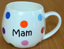 "Welsh  ""MAM"" design china SPOTTY HUG MUG , Cymru, Wales, MOTHERS DAY"