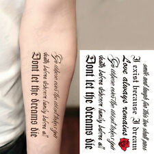 Lovely English Words Temporary Tattoos Paper Sticker Waterproof Fake Tatoo Women