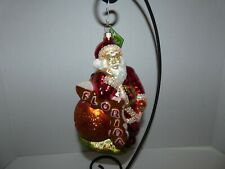 Slavic Treasures Retired Glass Ornament-Florida Map/Orange/Santa~Poland~7 ""