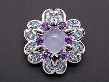 14k White Gold 7.34ct Caboshon Moonstone Amethyst Blue Topaz Flower Brooch Pin
