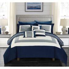 10 Piece Heldin Comforter Set by Chic Home, Navy, King