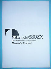 Owner's Manual-Manuale per Nakamichi 680 ZX