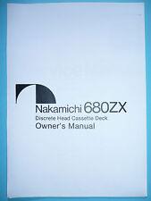 Owner's manual-Manuel d'utilisation NAKAMICHI 680 zx