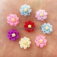 New 80pcs 13mm Mix resin 3D Daisy Flatback flower stone scrapbook wedding DIY
