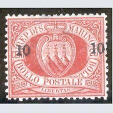 San Marino 1892 Sopr. 10 c. su 20 c. rosso n. 11 Nuovo