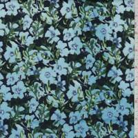 Navy/Turquoise Floral Quilted Knit, Fabric By The Yard