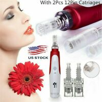 Electric Derma Pen Micro Needle Stamp Auto Anti Aging Skin Facial Care US LN