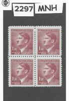 MNH Stamp block 1.50KR 1942 Third Reich / Adolph Hitler / WWII German Occupation
