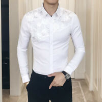 Men Gothic Steampunk Shirt Top Floral Sequin Modern Formal Long Sleeve Slim Sexy