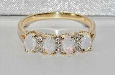 BEAUTIFUL 9 CT YELLOW GOLD NATURAL OPAL & DIAMOND LADIES ETERNITY RING ~ size M