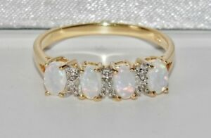 9CT YELLOW GOLD & SILVER OPAL & DIAMOND LADIES ETERNITY RING ~ size S