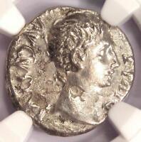 Augustus AR Denarius Coin 15-13 BC (Lugdunum) - Certified NGC VF (Very Fine)