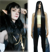 "59"" Super Long Straight Black Cosplay Wig Halloween Party Hair Wigs US Stock"