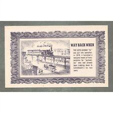 Vintage c. 1948 Postcard: Way Back When Sixth Avenue EL Cavanagh's Restaurant Ad
