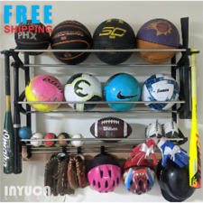Sports Equipment Shoe Storage Rack Garage Wall Mount Shelf Ball Holder Organizer