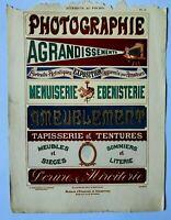 """Pochoir ART NOUVEAU pour enseignes """"PHOTOGRAPHIE"""" de A. CHARAYON vers 1900"""