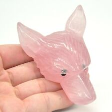 "3.1"" Wolf Head Statue Healing Natural Rose Quartz Pendant Healing Stone Decor"