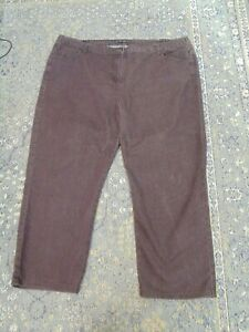 Size 22 Brown Jeans Style Trousers Unbranded Elasticated Side Cotton Elastane