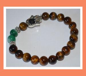 Tiger Eye Green Hakik Agate Healing Protection Spiritual Gemstone Hamsa Bracelet