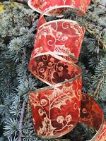 """2.5"""" Wired Edge 15 Yards Red Sheer & Gold Glitter Holly & Berries Ribbon roll"""