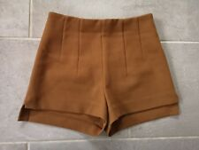 H&M Camel Sand Tan High Waisted Side Split Fitted Darted Shaped Chino Shorts