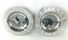 Vintage JR DOB Sunburst Aluminum Collectible Ashtrays (2) Elk & American Bison