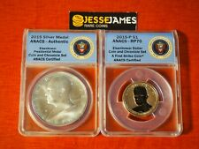2015 P REVERSE PROOF EISENHOWER DOLLAR ANACS PR70 FS COIN AND CHRONICLES SET