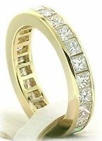 3.61 carat PRINCESS DIAMOND Eternity RING channel set band VS2 clarity F color
